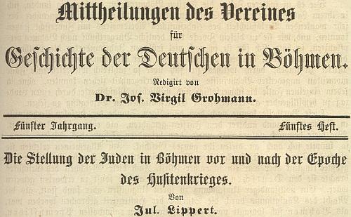 Záhlaví časopisu Sdružení pro dějiny Němců v Čechách s jeho článkem