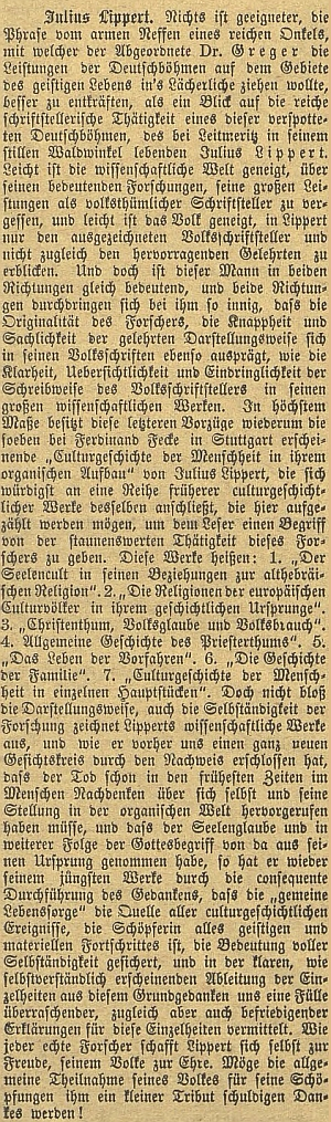 Hořká připomínka jeho českobudějovického pobytu na stránkách zdejšího německého listu v době, kdy už si Lippert mezitím získal vynikající vědeckou pověst