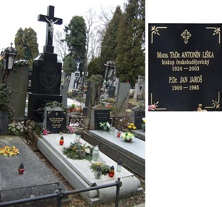 Jeho hrob na českobudějovickém hřbitově u sv. Otýlie pod křížem s emblémem řádu bratří redemptoristů