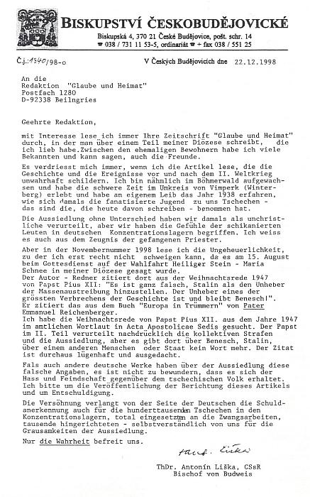 """Dopis redakci """"Glaube und Heimat"""" proti výmyslům o kritice Beneše a Stalina ve vánočním projevu Pia XII. z roku 1947"""