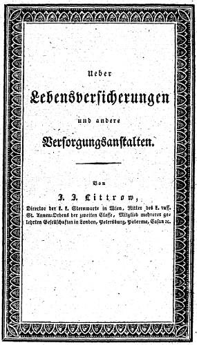 Obálka (1832) jeho knihy o životním pojištění