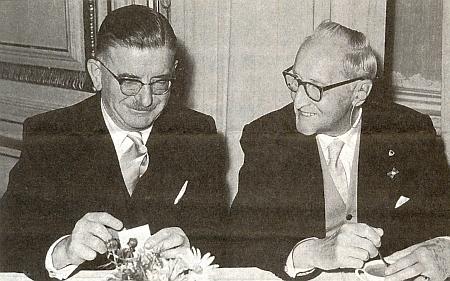 S rakouským ministrem zahraničí Leopoldem Figlem o Sudetoněmeckém sněmu ve Vídni roku 1959