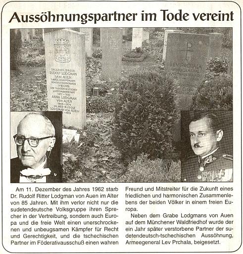 Na mnichovském lesním hřbitově leží tu ty dva hroby symbolicky vedle sebe: ten jeho a generála Prchaly
