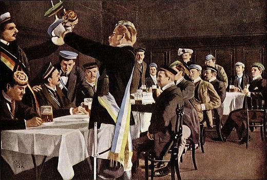 """Pátý zprava na obraze Oscara Rexe (1857-1929) """"Landesvater der deutschen Studenten in Prag"""" někdy z let 1900-1905"""