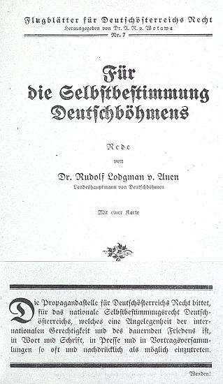 """Titulní strana (1919) vídeňského letáku s jeho projevem ksebeurčení """"německých Čech"""""""