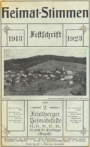 Obálka (1923) brožury ke slavnostem ve Frymburku s jeho příspěvkem