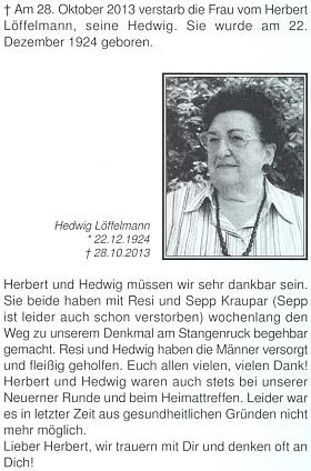 Nekrolog jeho ženy Hedwig na stránkách krajanského měsíčníku