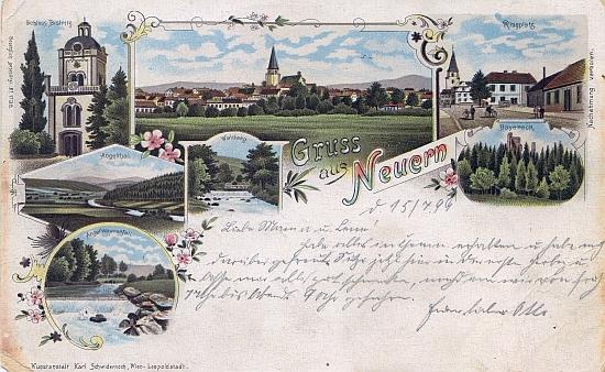 Malovaná pohlednice rodného Nýrska i s motivy okolí