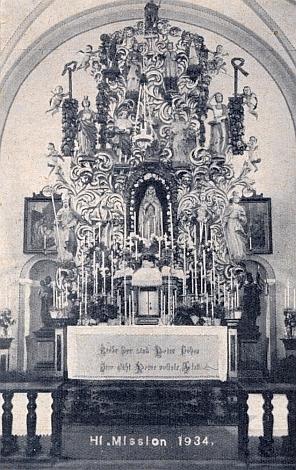 Hlavní oltář zničeného dolnonýrského kostela se sochami 14pomocníků (viz i Karl Zettl)