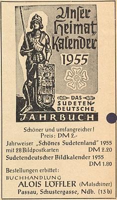 Inzerát otcova pasovského už knihkupectví na stránkách krajanského měsíčníku v září roku 1954