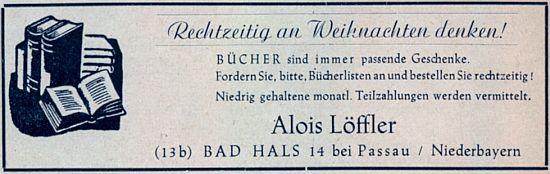 Inzerát otcova knihkupectví v Bad Hals u Pasova z roku 1950