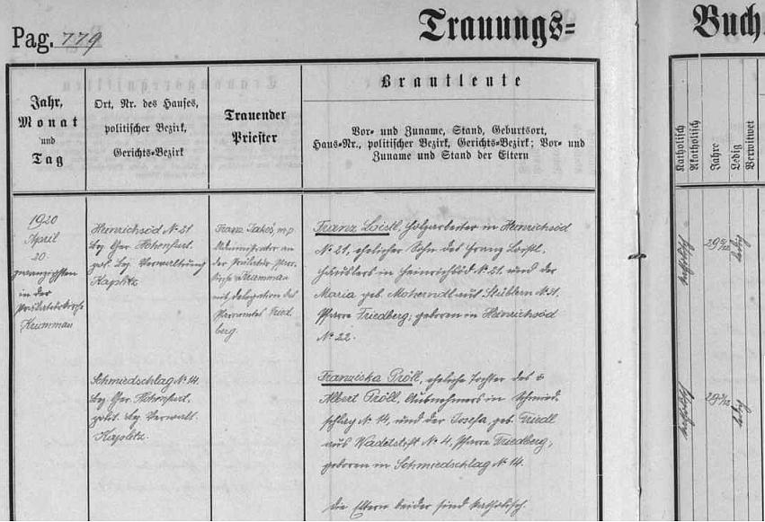 Záznam z frymburské knihy oddaných ke dni 20. dubna roku 1920 o svatbě Franze Loistla z Hrdoňova čp. 21, manželského syna tamního ševce Franze Loistla a Marie, roz. Moherndlové z Posudova čp. 31, s Franziskou Pröllovou, dcerou Alberta Prölla, výminkáře v Kovářově čp. 4 a Josefy, roz. Friedlové z Hruštic čp. 4