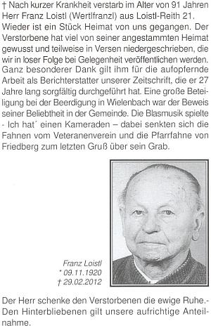 Úmrtní oznámení Franze Loistla mladšího i s datem skonu a následném pohřbu veWielenbachu