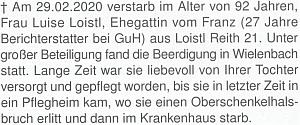 Zpráva o úmrtí ženy Franze Loistla mladšího na stránkách krajanského měsíčníku
