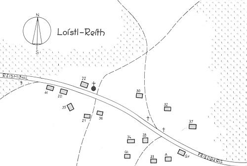 """Plánek někdejší """"Loistl-Reith"""" s místní kapličkou a Loistlových stavením čp. 22"""
