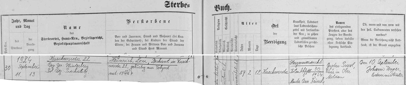 Německý záznam kunžvartské matriky o jeho zdejším skonu v 57 letech věku (ještě předchozí záznam v matrice psal on sám) a zdejším rovněž pohřbu i s podpisem Johanna Ungera