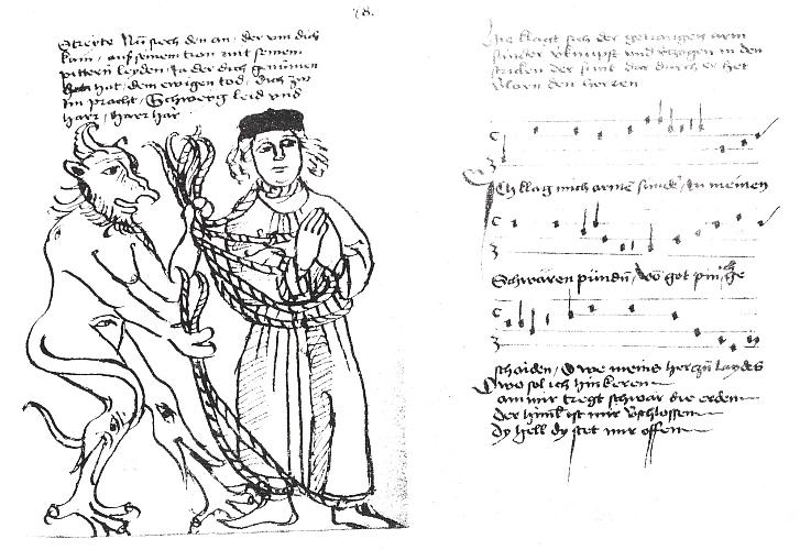 Vazba, frontispis a titulní list (1895) Bäumkerova lipského vydání Vyšebrodského zpěvníku (HLb) s kresbou a textem o ztracenci opleteném osidly hříchu z rukou ďábla