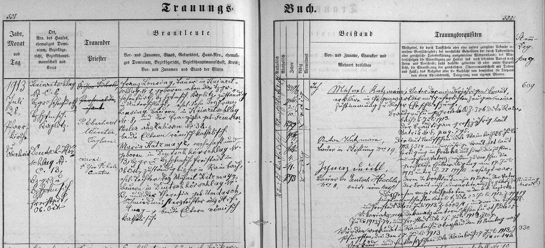 Záznam o svatbě rodičů v hornodvořišťské knize oddaných
