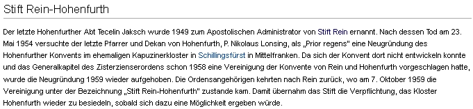 Odstavec hesla o klášteře Vyšší Brod v německé Wikipedii zmiňuje jeho pokus o znovuzaložení vyšebrodského konventu v někdejším kapucínském klášteře Schillingfürst ve středních Frankách v polovině padesátých let dvacátého století