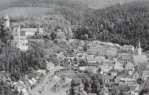 Rodný Rožmberk nad Vltavou na staré pohlednici...