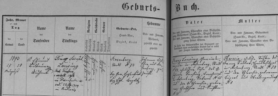 Podle záznamu v křestní matrice města Rožmberk nad Vltavou narodil se zde v domě čp. 74 dne 27. srpna 1893 a byl den nato pokřtěn jménem Franz Seraph Lonsing - otec byl obecním sluhou, matka, roz. Sailerová, byla dcerou Franze Sailera, majitele domu v Rožmberku čp. 58, a jeho ženy Theresie, roz. Kögerlové, ze dnes zaniklé vsi Horní Dlouhá, farnost Malšín
