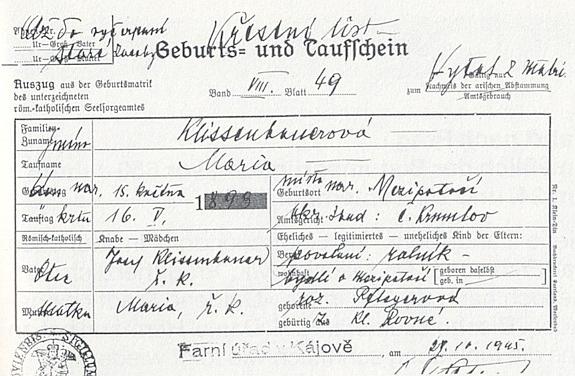 Křestní list tety Marie, vystavený 1945 česky na starém blanketu
