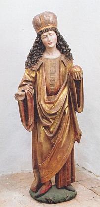 Svatý Vít z Mezipotočí náležel k rozebranému gotickému oltáři kájovského kostela a je dnes vmajetku Římskokatolické farnosti Kájov
