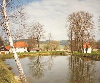 Mohutný statek dodnes shlíží na rybník a náves v Mezipotočí
