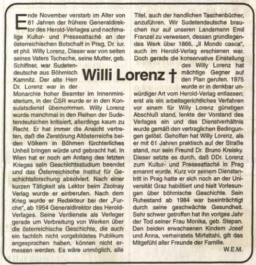 Nekrolog v rakouském krajanském listu zmiňuje i jeho přítele BrunaKreiskyho