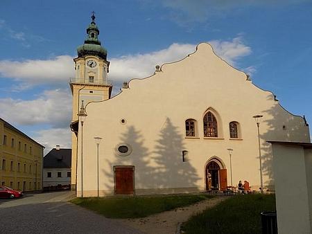 Kostel Nanebevzetí Panny Marie v Plané, kde byl pokřtěn a v němž je i rodiná hrobka...