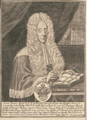 Portrét z frontispis další jeho knihy Theatrum medico-juridicum (1725)