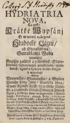 Titulní list jeho balneologické práce (po r. 1721)