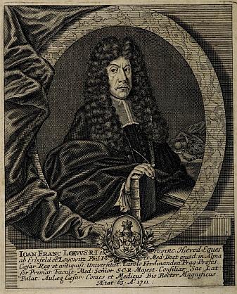 "Portét z frontispis jeho knihy ""Nova et vetus aphorismorum divi senis Hippocratis..."" (1711)"