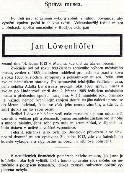 Jeho český nekrolog na stránkách výroční zprávy českobudějovického muzea, jehož neutěšenou finanční situaci dokládá poznámka doleji