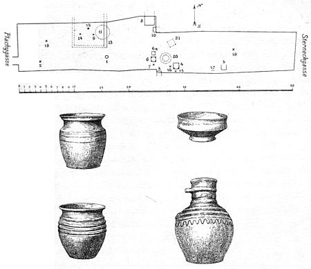 Ukázka jeho dokumentace archeologického výzkumu u nálezů z domu U Hájíčků v Českých Budějovicích