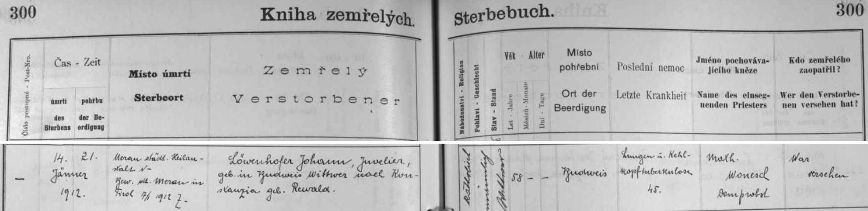"""Takto zaznamenává českobudějovická """"Kniha zemřelých"""" jeho úmrtí a pohřeb"""