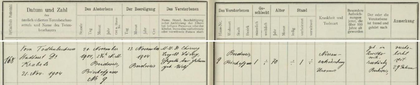 Záznam o jeho úmrtí v českobudějovické židovské matrice