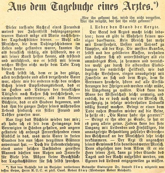 První strana separátního otisku částí deníku z jeho pozůstalosti