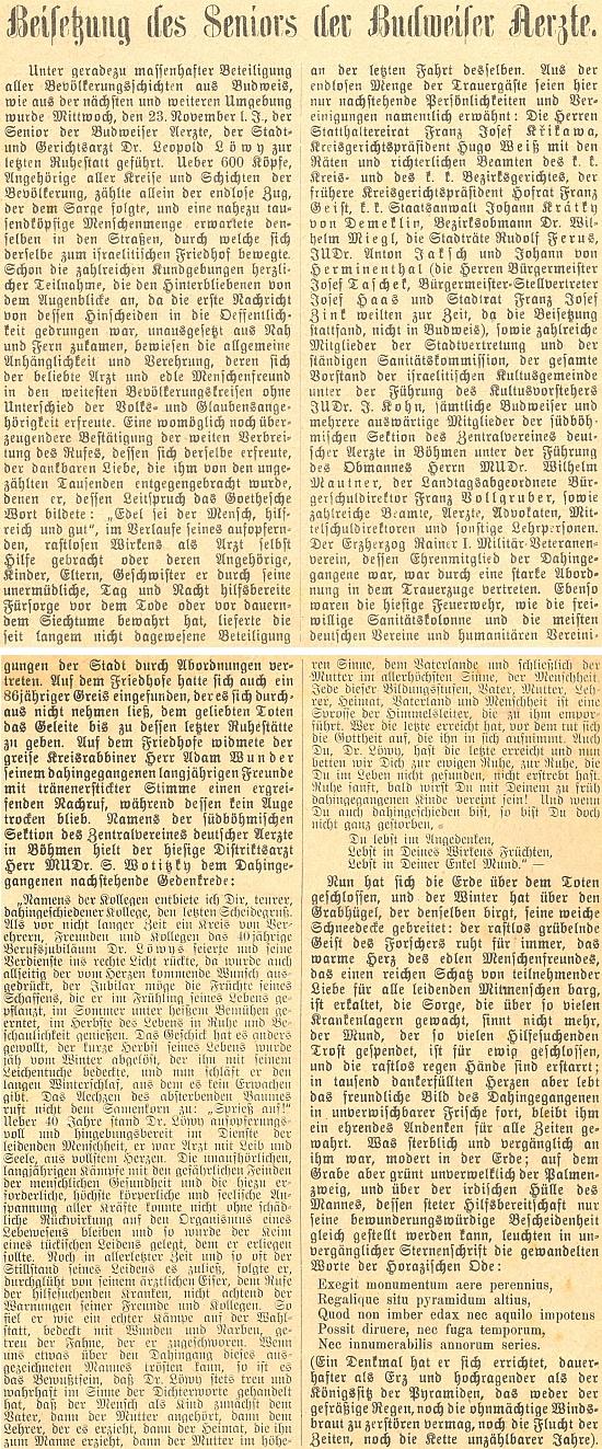 ... a samotná zpráva o jeho pohřbu jako separátní otisk z místního německého listu