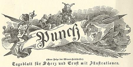 Kašpárek v záhlaví humoristického vídeňského listu Punch z revolučního roku 1848