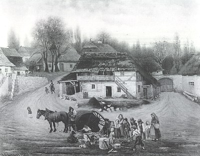 Nehoda umělce / Na návsi, olejomalba Antonína Chitussiho z roku 1877