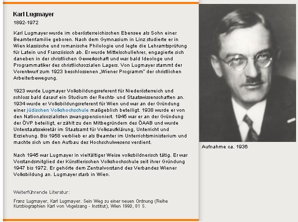 Na webu rakouské organizace pro vzdělávání dospělých provází jeho životopis podobenka někdy z roku 1936