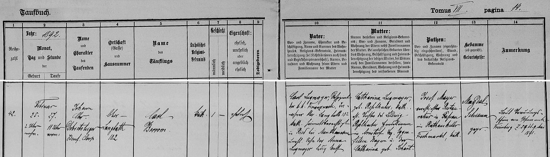 Záznam o jeho narození v křestní matrice hornorakouského městyse Ebensee