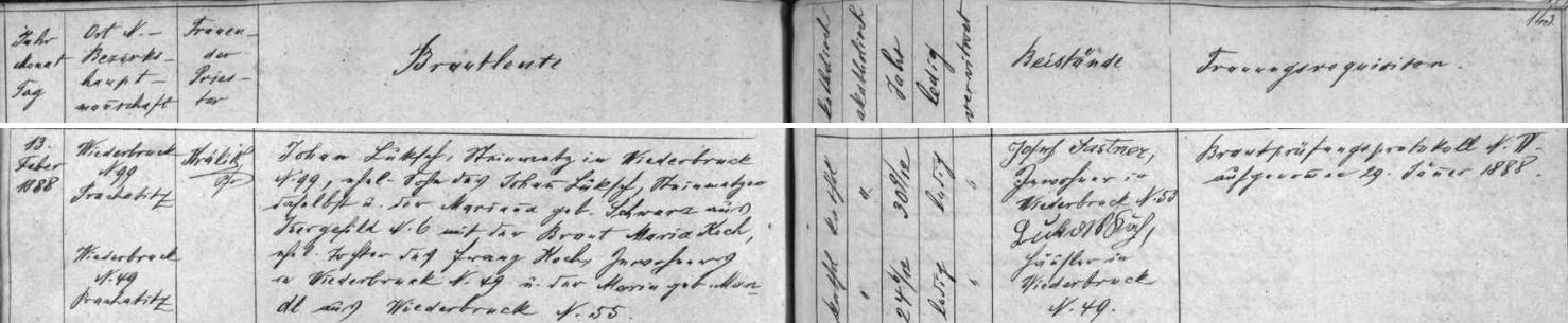 Záznam kvildské oddací matriky o svatbě jeho prarodičů Johanna a Marie Lukschových