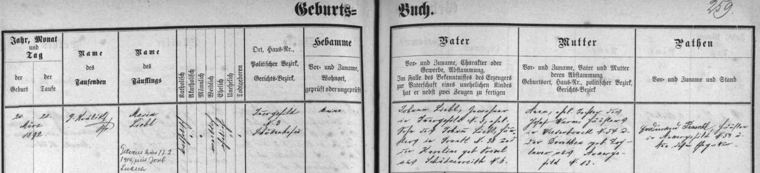 Záznam kvildské křestní matriky o narození matčině s pozdějším přípisem o její svatbě