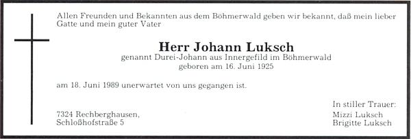 Dvě podoby téhož parte Johanna Luksche ze stránek krajanských časopisů
