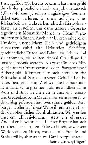 """Jiný nekrolog ze stránek měsíčníku """"Hoam!"""" podepsali """"Seine 'Innergföiger'"""", tj. """"Jeho 'Horskokvildští'"""""""