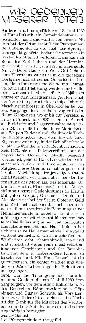 Nekrolog Gustava Schustera na stránkách krajanského měsíčníku