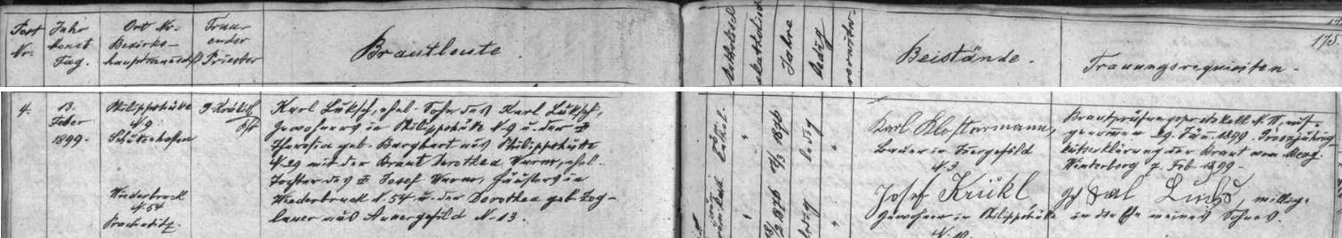 Záznam kvildské křestní matriky o narození jeho děda Karla Luksche dne 17. března roku 1876 na Filipově Huti (Philippshütte) čp. 22 a den nato kooperátorem Josefem Fuxem pokřtěného v kostele sv. Štěpána na Kvildě - novorozencův otec Karl Luksch byl synem hajného na Antýglu (Antigl) čp. 29 Franze Luksche a Anny Marie, roz. Kricklové z Antýglu, matka dítěte Theresia byla pak dcerou podruha na Filipově Huti čp. 21 Josefa Burgharta a Franzisky, roz. Hainiové z Filipovy Huti
