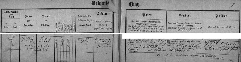 Záznam křestní matriky farní obce Kvilda o zdejší svatbě (obřad konal 13. února roku 1899 farář Gregor Králík) jeho děda Karla Luksche, manželského syna Karla Luksche, tj. svého otce i jmenovce, podepsaného zde také na znamení souhlasu se synovou svatbou (ten jako třiadvacetiletý dosáhl zletilosti podle tehdejší zvyklosti až dva roky nato), aTheresie, roz. Burghartové z Filipovy Huti čp. 29, s Dorotheou Wurmovou, narozenou dne 18. února roku 1876 (byla tedy o měsíc starší nežli ženich) jako dcera chalupníka na Vydřím Mostě čp. 54 Josefa Wurma a Dorothey, roz. Zoglauerové z Kvildy čp. 13 - svědky byli sedlák z Horské Kvildy čp. 3 Karl Klostermann a podruh z Filipovy Huti čp.10 Josef Krickl